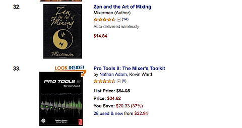 Pro Tools 9: The Mixer's toolkit at number 33 on Amazon best sellers in Sound Recording
